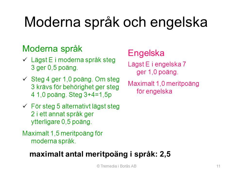 Moderna språk och engelska Moderna språk  Lägst E i moderna språk steg 3 ger 0,5 poäng.  Steg 4 ger 1,0 poäng. Om steg 3 krävs för behörighet ger st