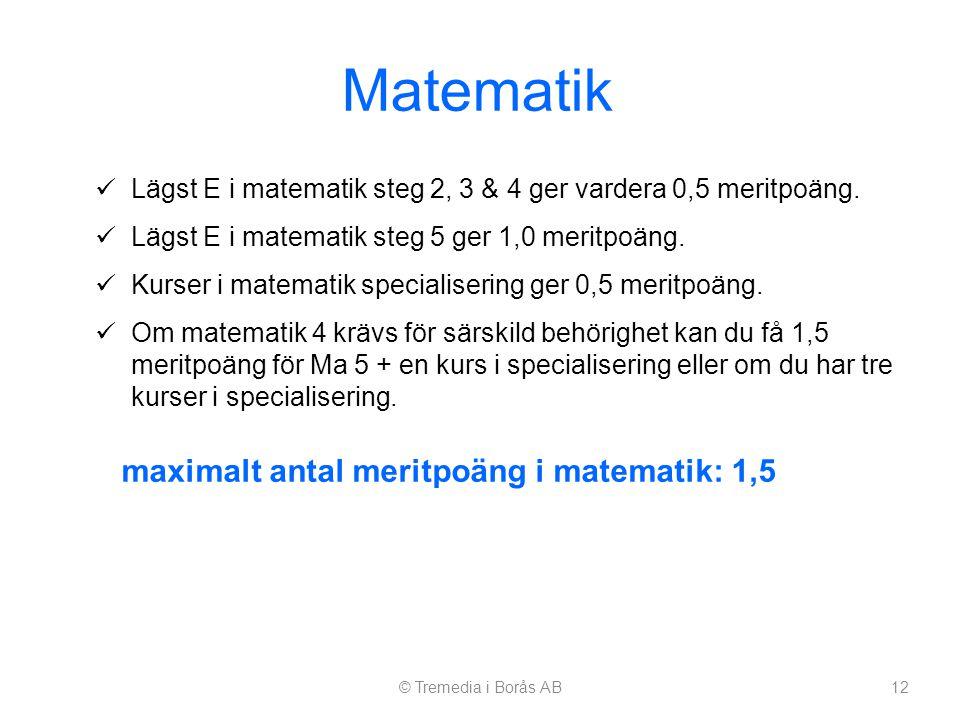 Matematik  Lägst E i matematik steg 2, 3 & 4 ger vardera 0,5 meritpoäng.  Lägst E i matematik steg 5 ger 1,0 meritpoäng.  Kurser i matematik specia
