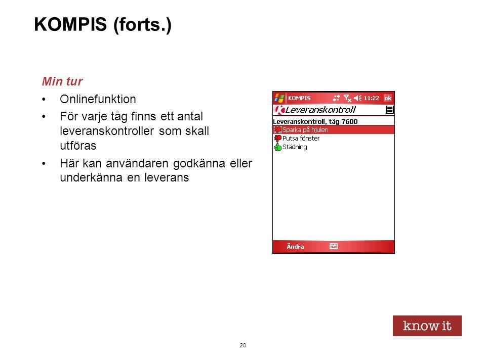 20 KOMPIS (forts.) Min tur •Onlinefunktion •För varje tåg finns ett antal leveranskontroller som skall utföras •Här kan användaren godkänna eller unde