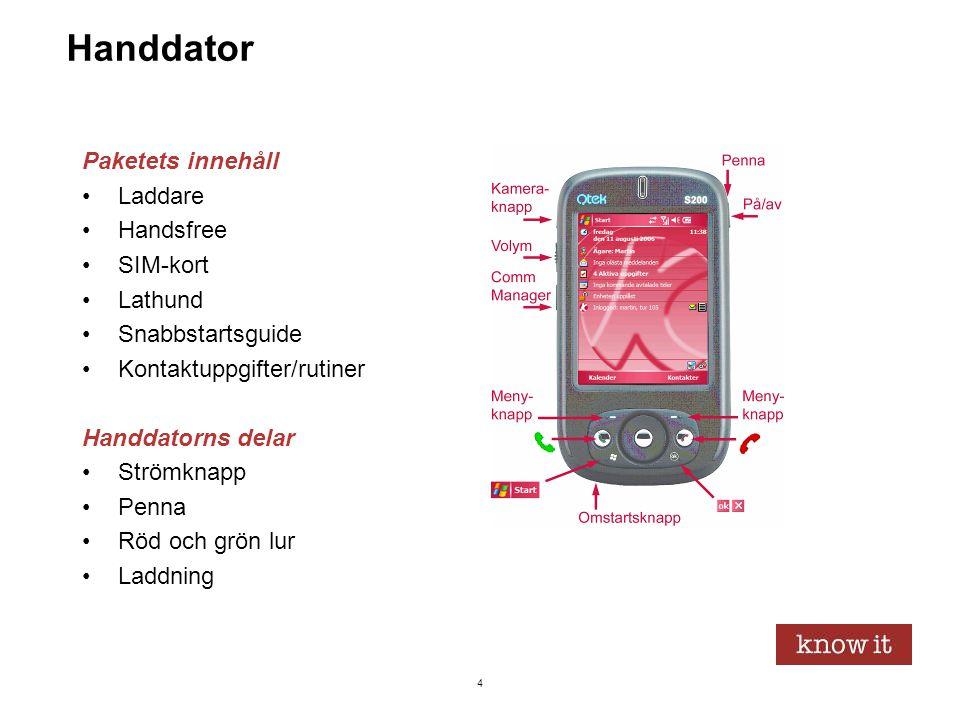 25 Paketets innehåll •Laddare •Handsfree •SIM-kort •Lathund •Snabbstartsguide •Kontaktuppgifter/rutiner Handdatorns delar •Strömknapp •Penna •Röd och grön lur •Laddning Att dela ut handdatorer Windows Mobile •Idagskärmen •Rubrikraden •KOMPIS-raden •Skärmlås •Tangentbordet