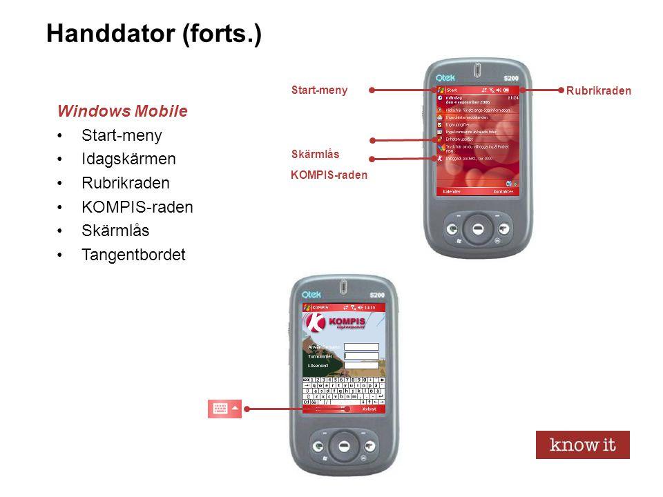 5 Handdator (forts.) Windows Mobile •Start-meny •Idagskärmen •Rubrikraden •KOMPIS-raden •Skärmlås •Tangentbordet Rubrikraden KOMPIS-raden Skärmlås Sta