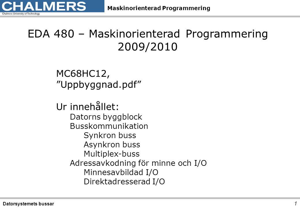 Maskinorienterad Programmering Adressrum, programmerarens bild 2 Datorsystemets bussar Linjärt fysiskt adressrum Segmenterat adressrum Bank -indelat adressrum PC IP DP PC BANK CS DS