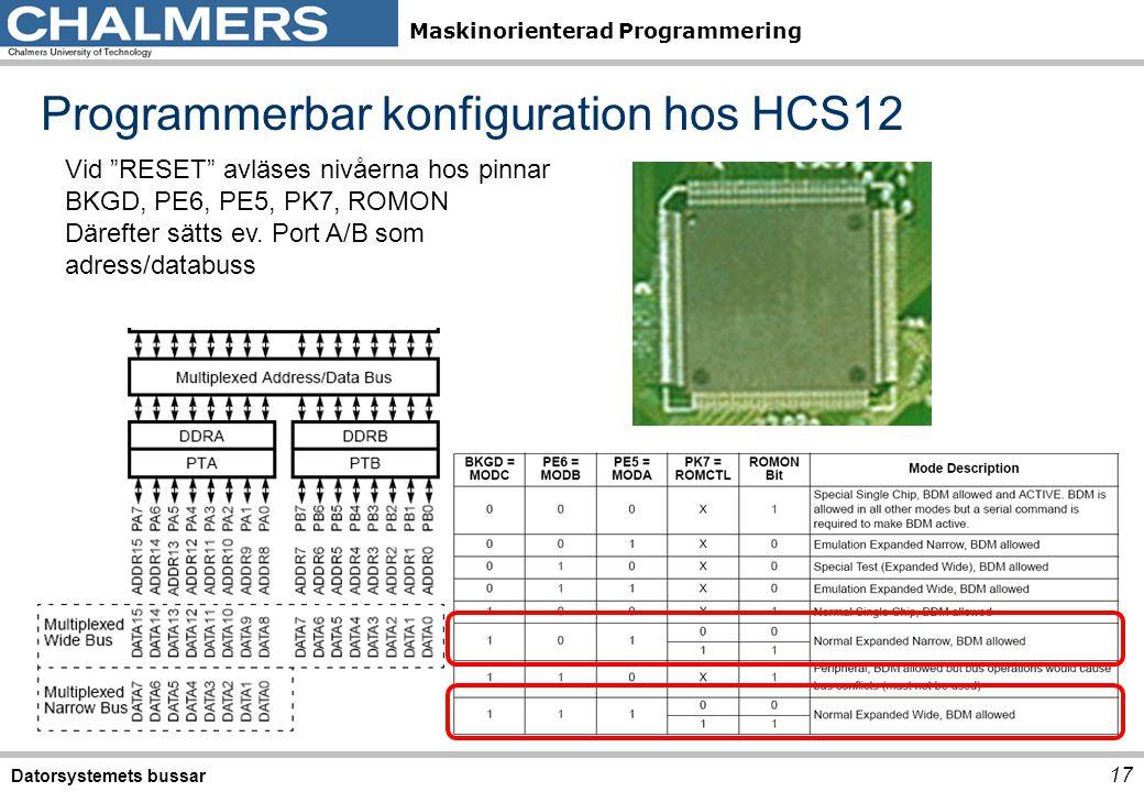 """Maskinorienterad Programmering Programmerbar konfiguration hos HCS12 Datorsystemets bussar 17 Vid """"RESET"""" avläses nivåerna hos pinnar BKGD, PE6, PE5,"""