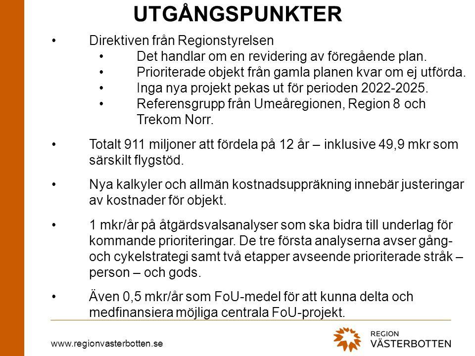 www.regionvasterbotten.se UTGÅNGSPUNKTER •Direktiven från Regionstyrelsen •Det handlar om en revidering av föregående plan. •Prioriterade objekt från