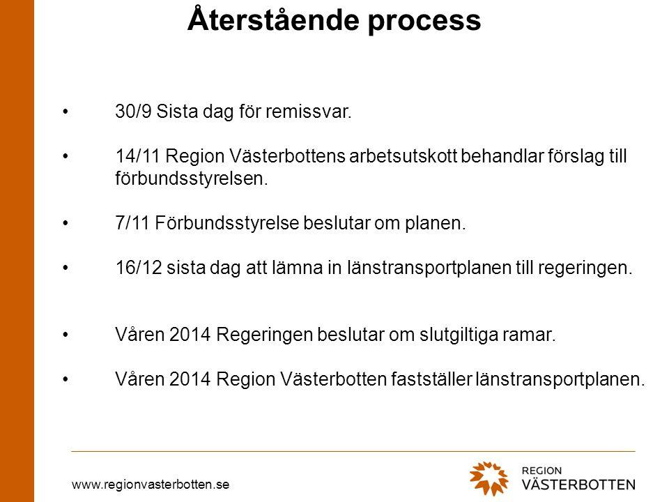 www.regionvasterbotten.se Återstående process •30/9 Sista dag för remissvar. •14/11 Region Västerbottens arbetsutskott behandlar förslag till förbunds
