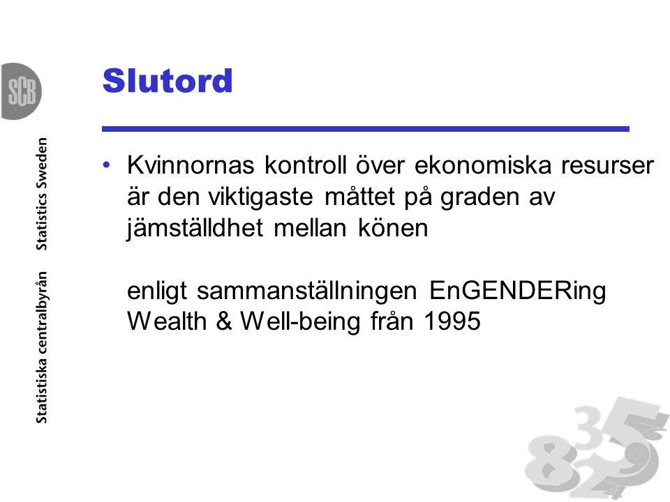 Slutord •Kvinnornas kontroll över ekonomiska resurser är den viktigaste måttet på graden av jämställdhet mellan könen enligt sammanställningen EnGENDERing Wealth & Well-being från 1995