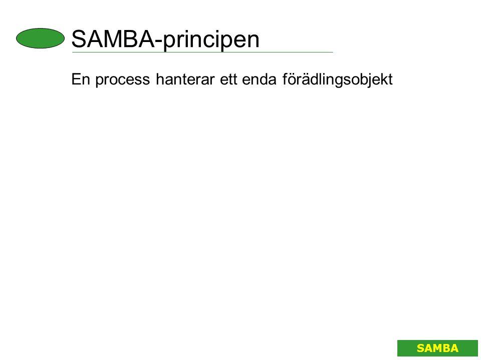 SAMBA-principen SAMBA En process hanterar ett enda förädlingsobjekt