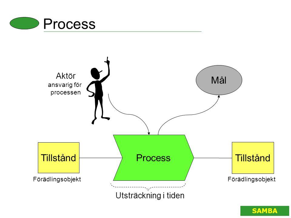 Process Tillstånd Aktör ansvarig för processen Tillstånd Utsträckning i tiden Mål Förädlingsobjekt SAMBA