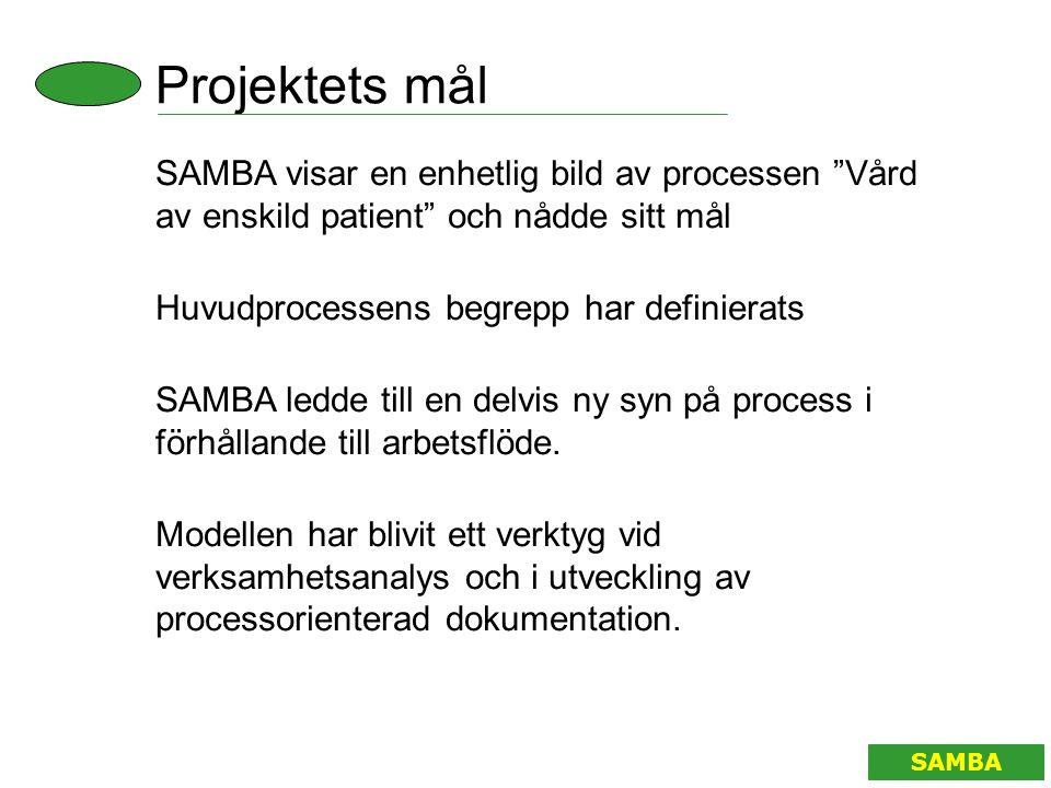 """Projektets mål SAMBA SAMBA visar en enhetlig bild av processen """"Vård av enskild patient"""" och nådde sitt mål Huvudprocessens begrepp har definierats SA"""