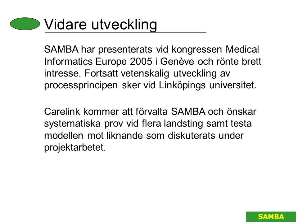 Vidare utveckling SAMBA SAMBA har presenterats vid kongressen Medical Informatics Europe 2005 i Genève och rönte brett intresse. Fortsatt vetenskalig