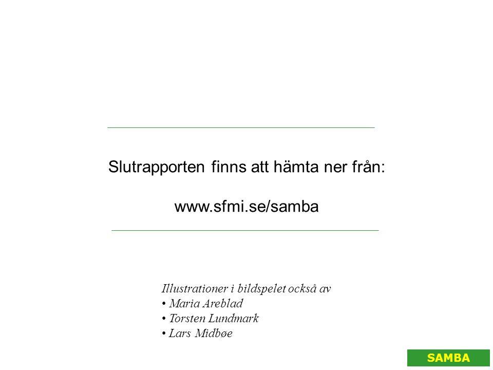 SAMBA Slutrapporten finns att hämta ner från: www.sfmi.se/samba Illustrationer i bildspelet också av • Maria Areblad • Torsten Lundmark • Lars Midbøe