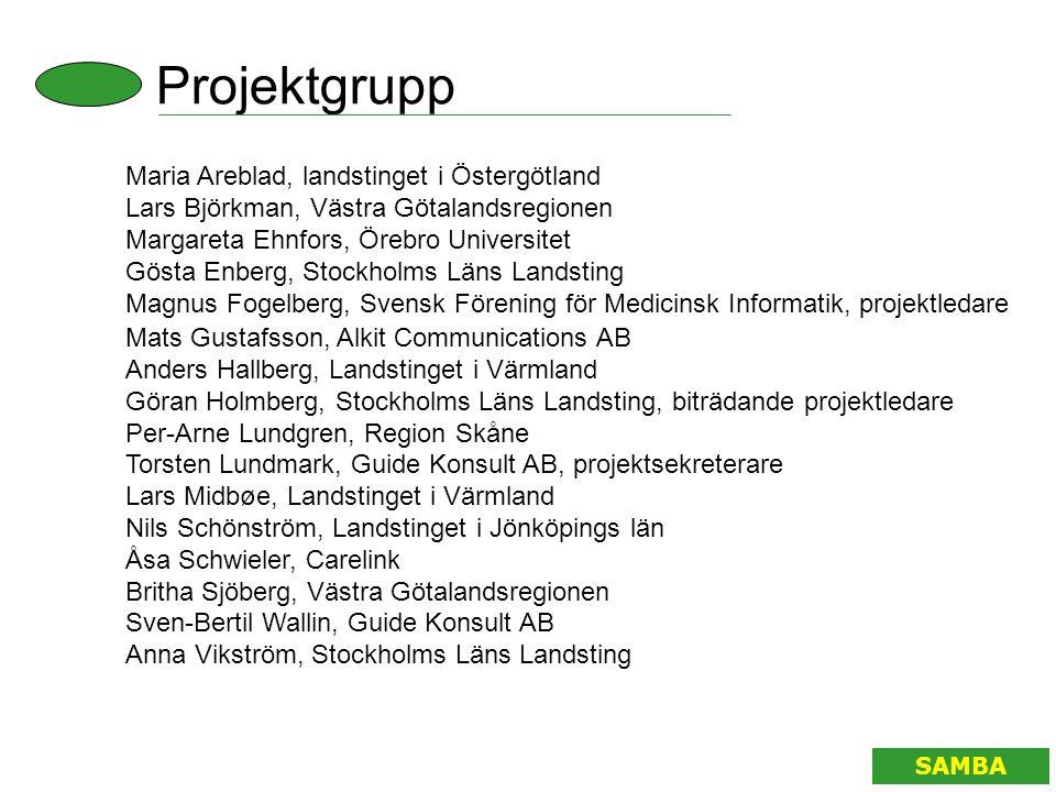 Projektgrupp SAMBA Maria Areblad, landstinget i Östergötland Lars Björkman, Västra Götalandsregionen Margareta Ehnfors, Örebro Universitet Gösta Enber