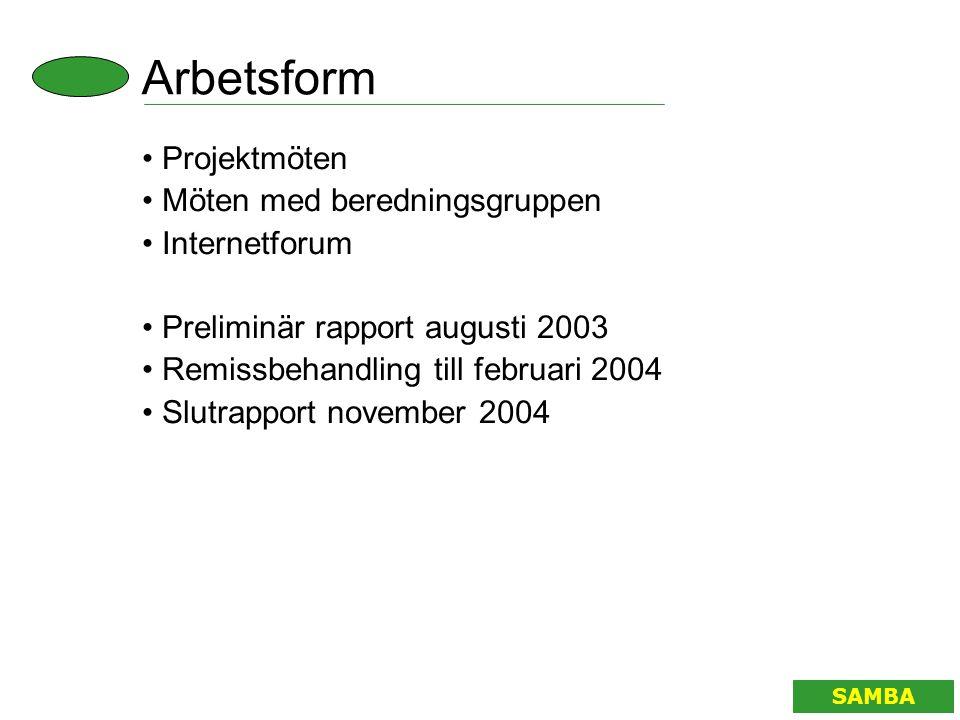 Arbetsform SAMBA • Projektmöten • Möten med beredningsgruppen • Internetforum • Preliminär rapport augusti 2003 • Remissbehandling till februari 2004