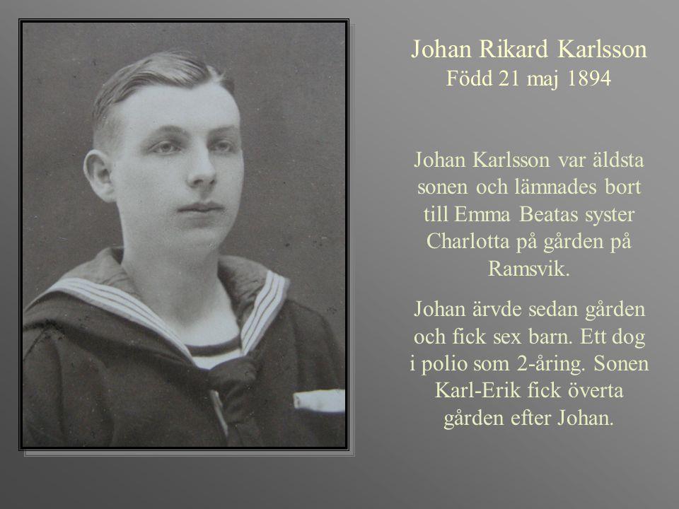 Karl William Karlsson Född 1896-07-07 Död 1983-05-16 Beläst, pratglad, fiskare och hantverkare.