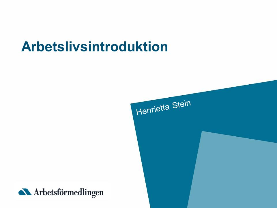 Arbetslivsintroduktion Henrietta Stein