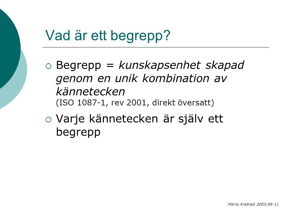 Vad är ett begrepp?  Begrepp = kunskapsenhet skapad genom en unik kombination av kännetecken (ISO 1087-1, rev 2001, direkt översatt)  Varje kännetec