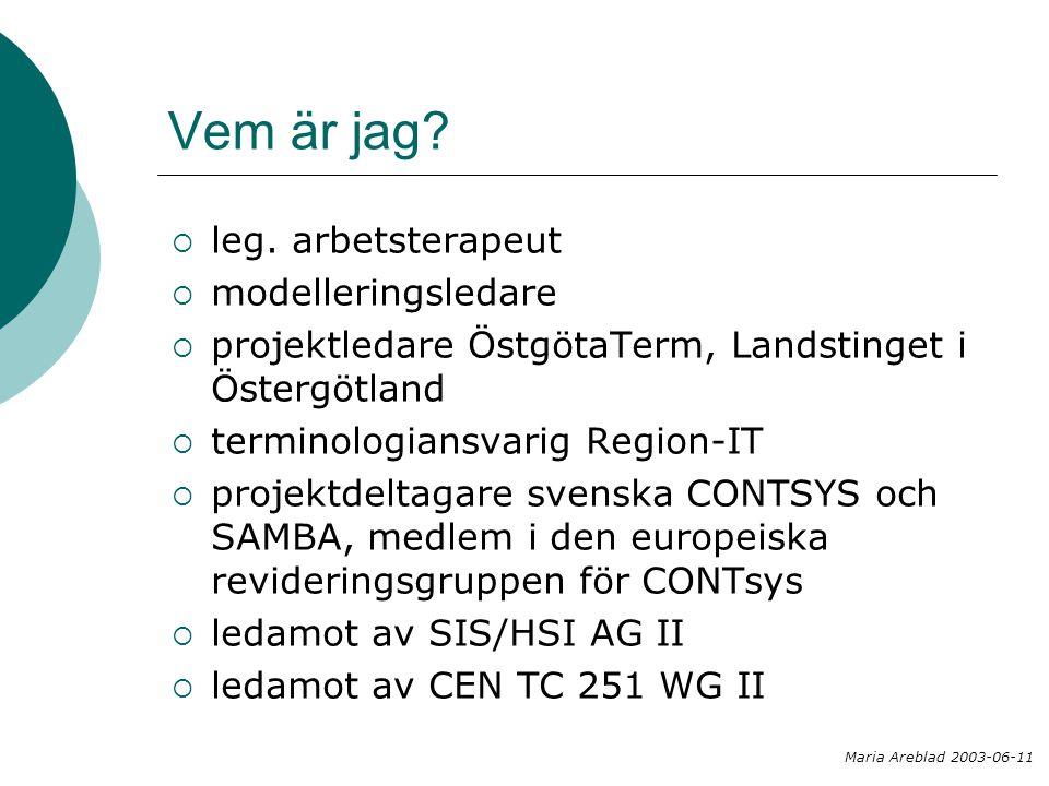 Disposition  Jobba med språket  Modellering  Terminologi  Processmodellering  SAMBA  Från teori till praktik  Termarbete på klinik  Termkatalog Maria Areblad 2003-06-11