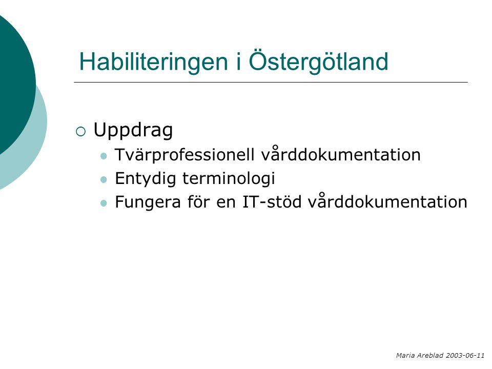 Habiliteringen i Östergötland  Uppdrag  Tvärprofessionell vårddokumentation  Entydig terminologi  Fungera för en IT-stöd vårddokumentation Maria A