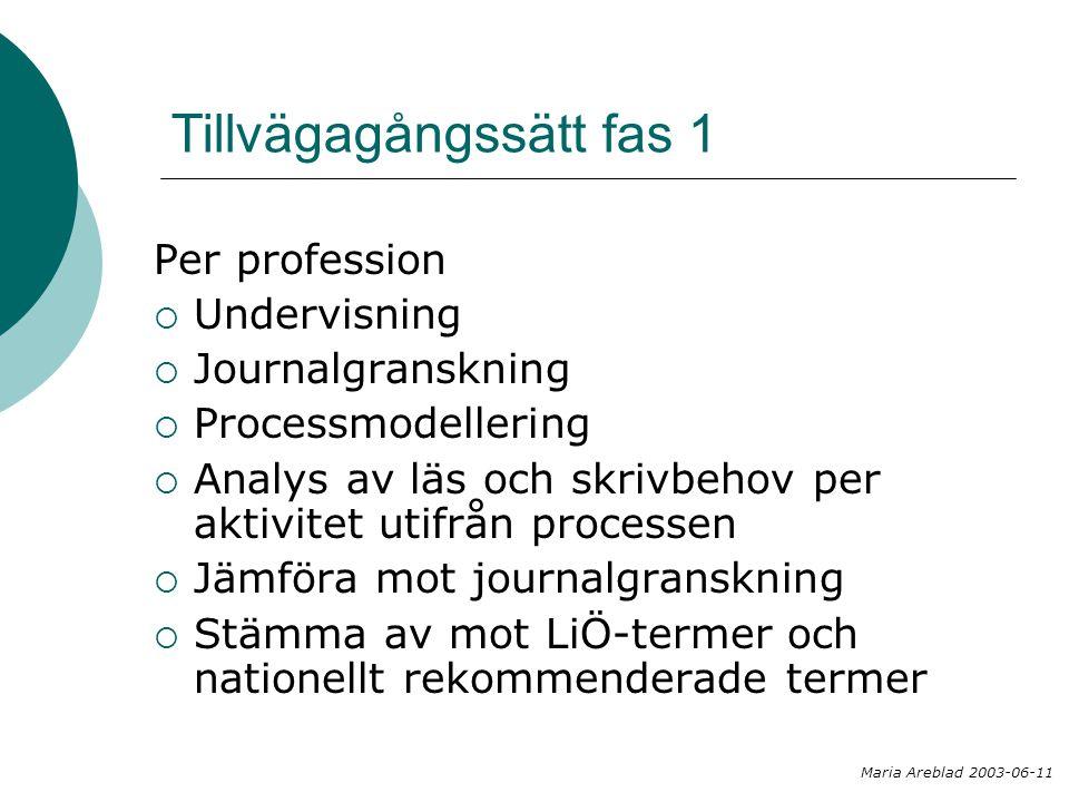 Tillvägagångssätt fas 1 Per profession  Undervisning  Journalgranskning  Processmodellering  Analys av läs och skrivbehov per aktivitet utifrån pr