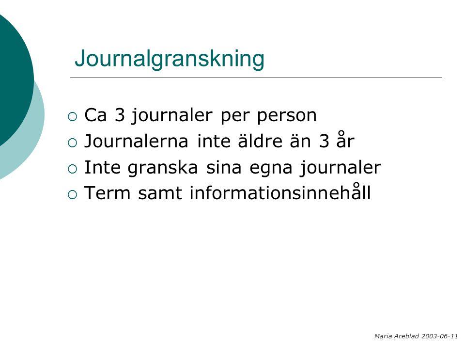 Journalgranskning  Ca 3 journaler per person  Journalerna inte äldre än 3 år  Inte granska sina egna journaler  Term samt informationsinnehåll Mar