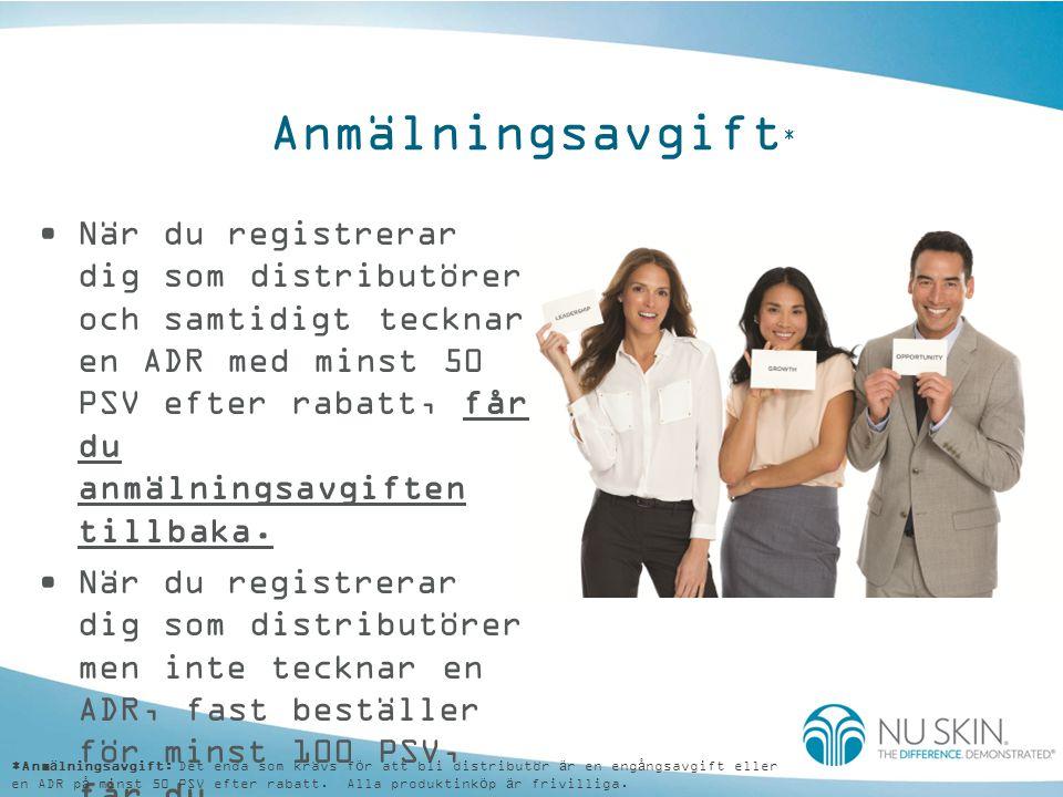 Anmälningsavgift * •När du registrerar dig som distributörer och samtidigt tecknar en ADR med minst 50 PSV efter rabatt, får du anmälningsavgiften til
