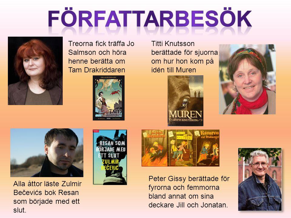 Treorna fick träffa Jo Salmson och höra henne berätta om Tam Drakriddaren Titti Knutsson berättade för sjuorna om hur hon kom på idén till Muren Alla åttor läste Zulmir Bečevićs bok Resan som började med ett slut.