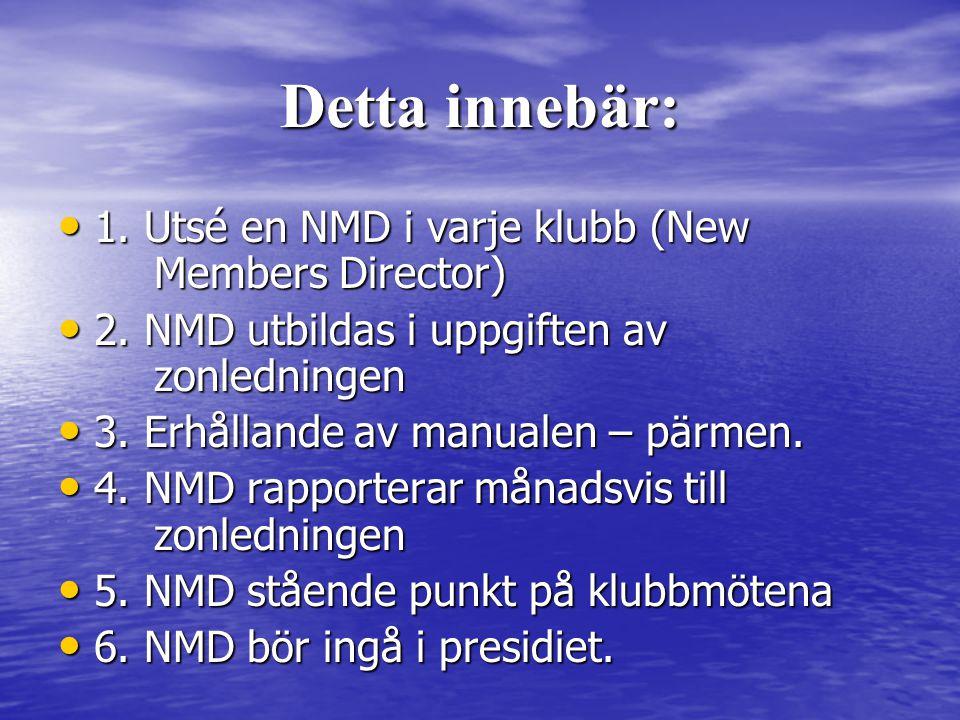 Detta innebär: • 1. Utsé en NMD i varje klubb (New Members Director) • 2.