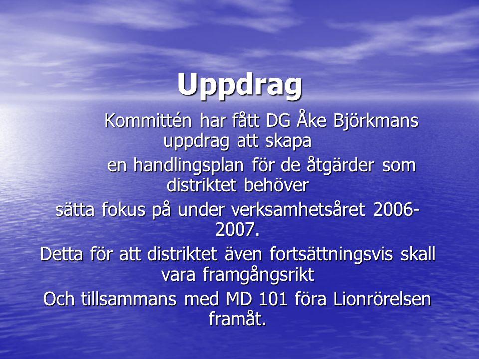 Uppdrag Kommittén har fått DG Åke Björkmans uppdrag att skapa en handlingsplan för de åtgärder som distriktet behöver sätta fokus på under verksamhetsåret 2006- 2007.