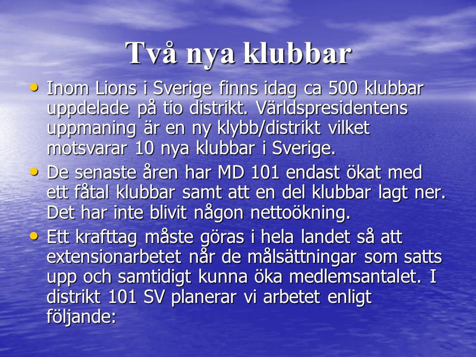 Två nya klubbar • Inom Lions i Sverige finns idag ca 500 klubbar uppdelade på tio distrikt.