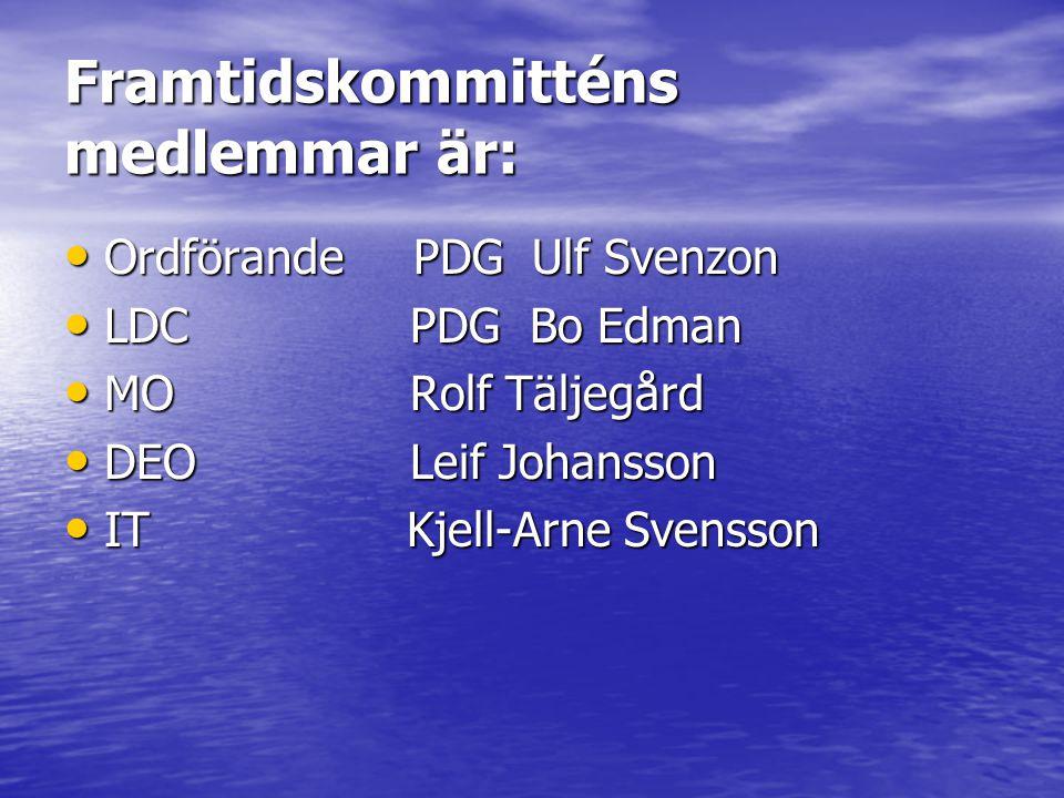 Framtidskommitténs medlemmar är: • Ordförande PDG Ulf Svenzon • LDC PDG Bo Edman • MO Rolf Täljegård • DEO Leif Johansson • IT Kjell-Arne Svensson