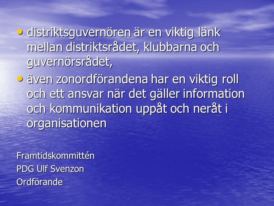 •d•d•d•distriktsguvernören är en viktig länk mellan distriktsrådet, klubbarna och guvernörsrådet, •ä•ä•ä•även zonordförandena har en viktig roll och ett ansvar när det gäller information och kommunikation uppåt och neråt i organisationen Framtidskommittén PDG Ulf Svenzon Ordförande