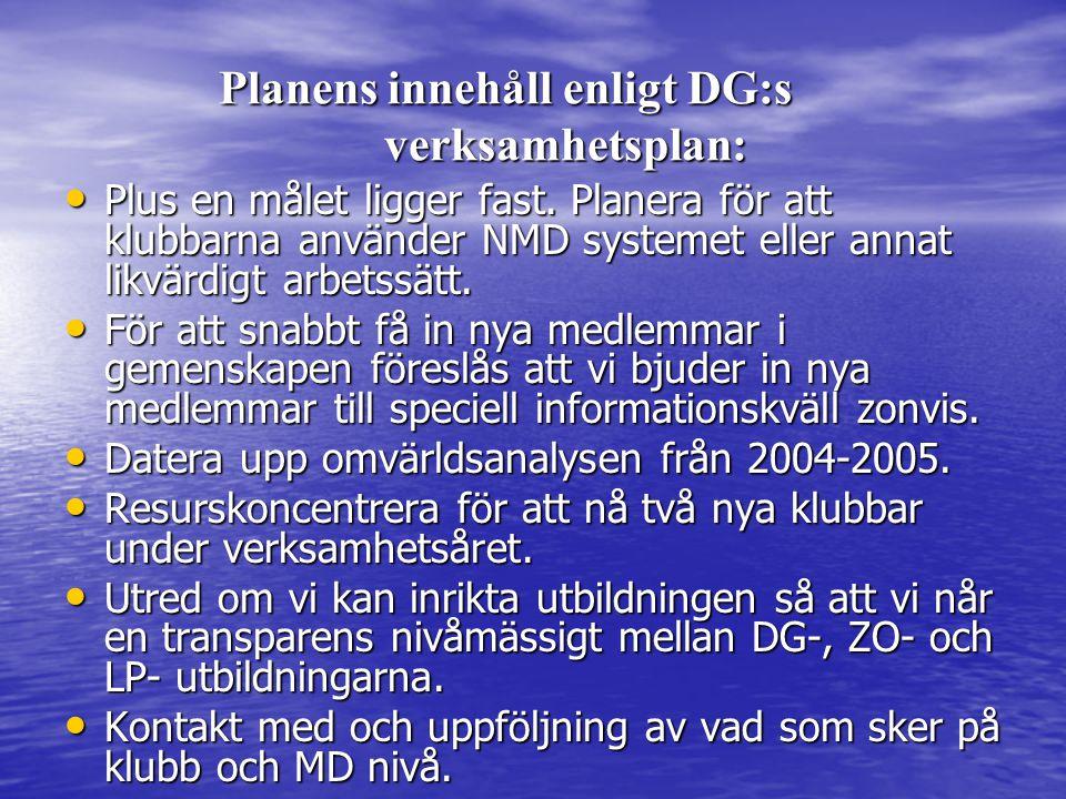 Planens innehåll enligt DG:s verksamhetsplan: Planens innehåll enligt DG:s verksamhetsplan: • Plus en målet ligger fast.