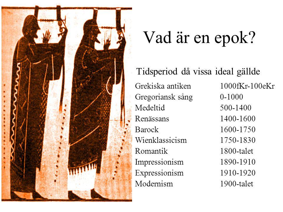 Antiken 1000 fKr-100 eKr • Kung David 900fkr hade en kör på 300 man •Det var fint att vara musikutbildad