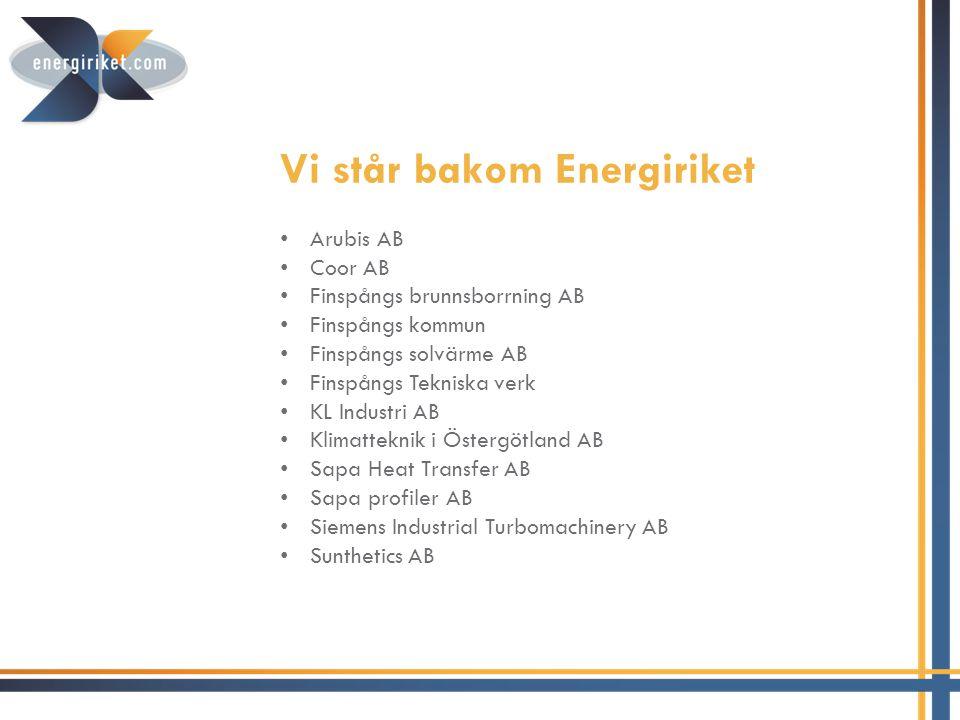 Vi står bakom Energiriket • Arubis AB • Coor AB • Finspångs brunnsborrning AB • Finspångs kommun • Finspångs solvärme AB • Finspångs Tekniska verk • K