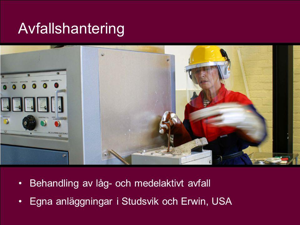 13 Avfallshantering •Behandling av låg- och medelaktivt avfall •Egna anläggningar i Studsvik och Erwin, USA
