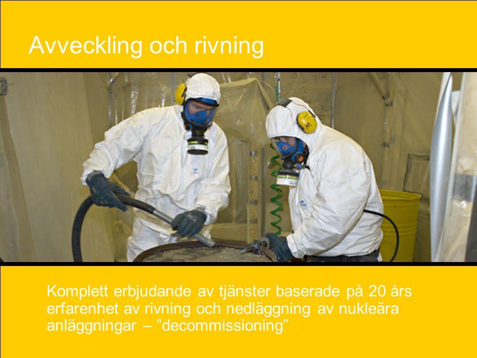 """16 Avveckling och rivning Komplett erbjudande av tjänster baserade på 20 års erfarenhet av rivning och nedläggning av nukleära anläggningar – """"decommi"""