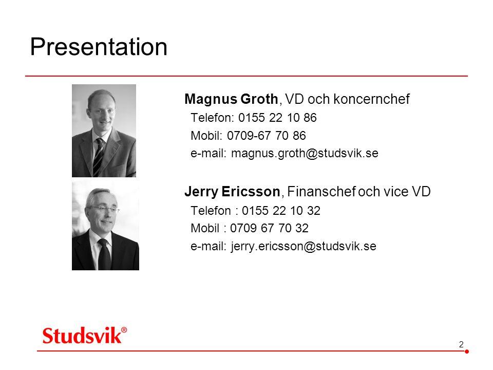 2 Presentation Magnus Groth, VD och koncernchef Telefon: 0155 22 10 86 Mobil: 0709-67 70 86 e-mail: magnus.groth@studsvik.se Jerry Ericsson, Finansche