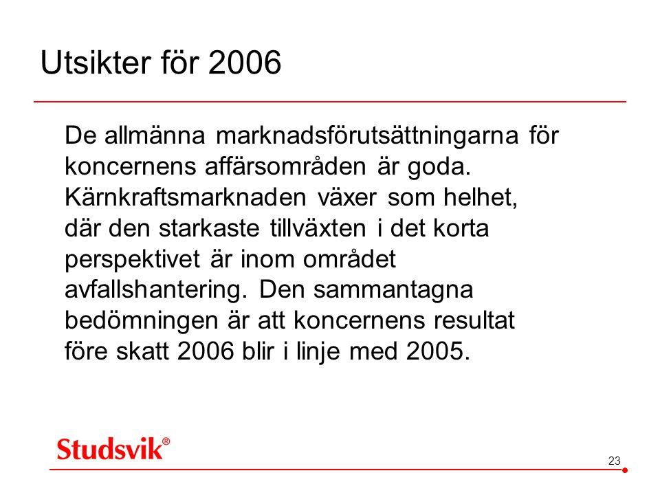 23 Utsikter för 2006 De allmänna marknadsförutsättningarna för koncernens affärsområden är goda. Kärnkraftsmarknaden växer som helhet, där den starkas
