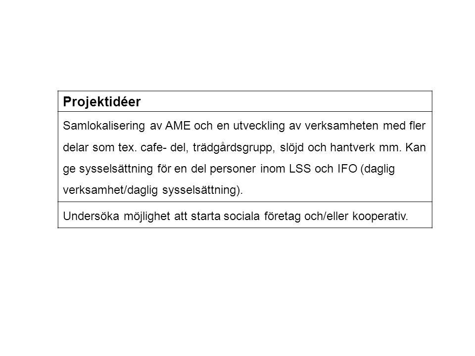 Projektidéer Samlokalisering av AME och en utveckling av verksamheten med fler delar som tex. cafe- del, trädgårdsgrupp, slöjd och hantverk mm. Kan ge