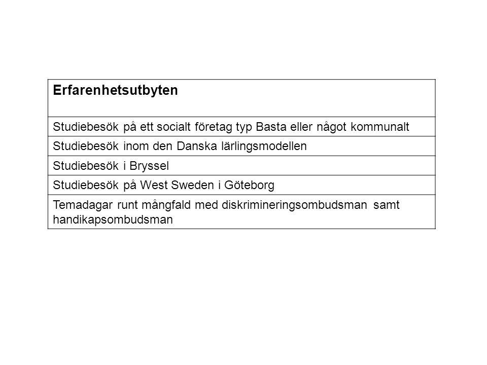 Erfarenhetsutbyten Studiebesök på ett socialt företag typ Basta eller något kommunalt Studiebesök inom den Danska lärlingsmodellen Studiebesök i Bryss