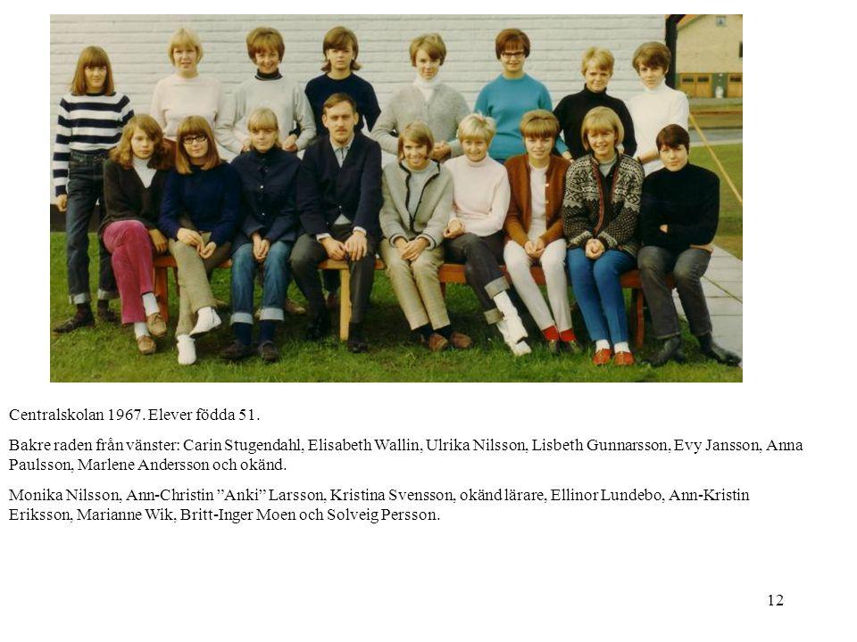 12 Centralskolan 1967. Elever födda 51. Bakre raden från vänster: Carin Stugendahl, Elisabeth Wallin, Ulrika Nilsson, Lisbeth Gunnarsson, Evy Jansson,