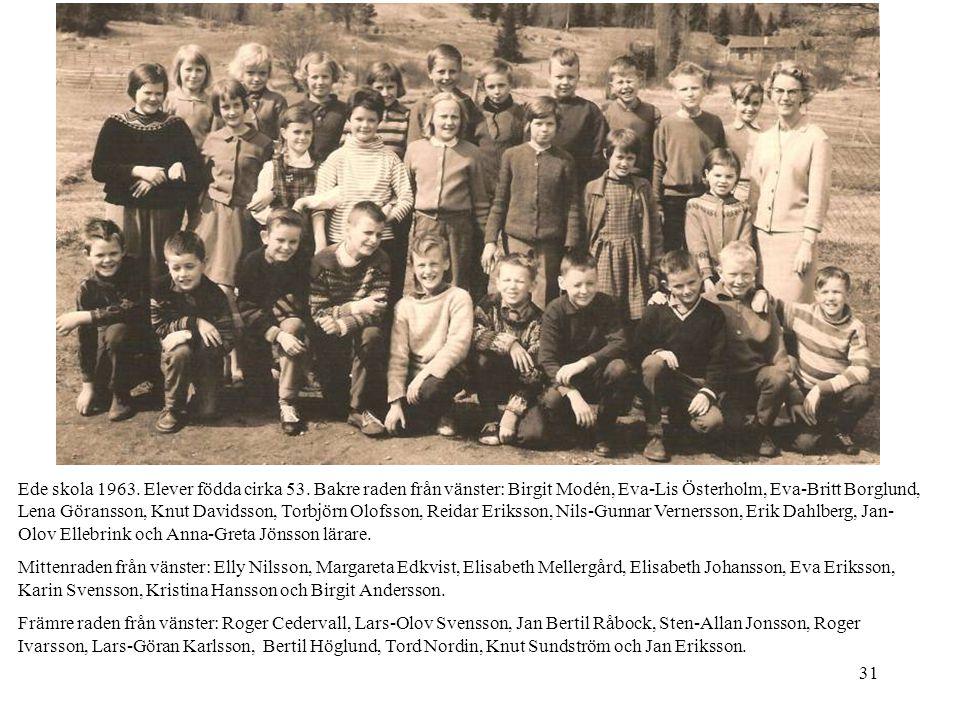 31 Ede skola 1963. Elever födda cirka 53. Bakre raden från vänster: Birgit Modén, Eva-Lis Österholm, Eva-Britt Borglund, Lena Göransson, Knut Davidsso