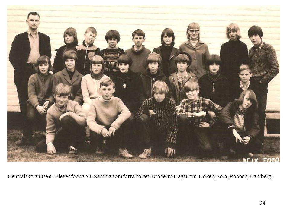 34 Centralskolan 1966. Elever födda 53. Samma som förra kortet. Bröderna Hagström. Höken, Sola, Råbock, Dahlberg...
