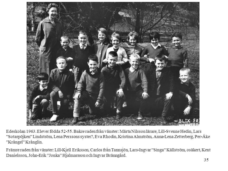 """35 Edeskolan 1963. Elever födda 52-55. Bakre raden från vänster: Märta Nilsson lärare, Lill-Svenne Hedin, Lars """"Sotarpöjken"""" Lindström, Lena Perssons"""