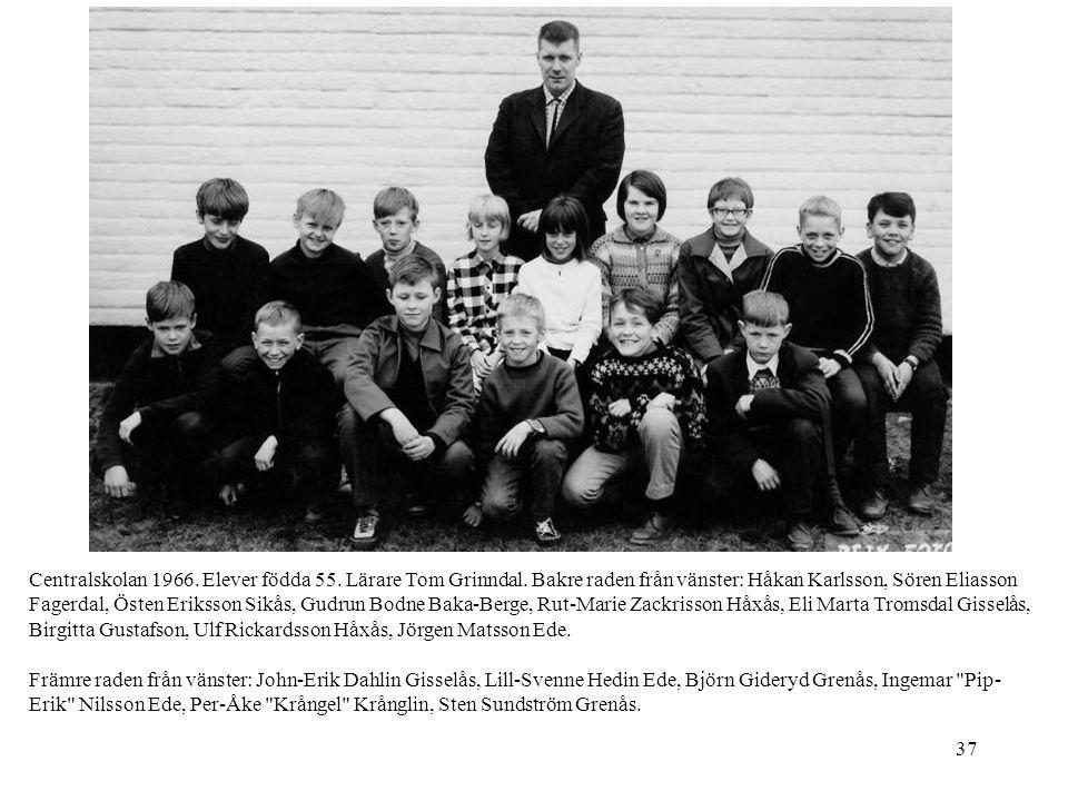 37 Centralskolan 1966. Elever födda 55. Lärare Tom Grinndal. Bakre raden från vänster: Håkan Karlsson, Sören Eliasson Fagerdal, Östen Eriksson Sikås,