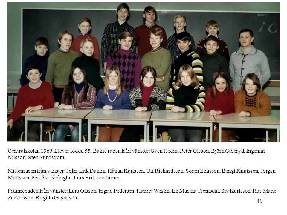 40 Centralskolan 1969. Elever födda 55. Bakre raden från vänster: Sven Hedin, Peter Olsson, Björn Gideryd, Ingemar Nilsson, Sten Sundström. Mittenrade
