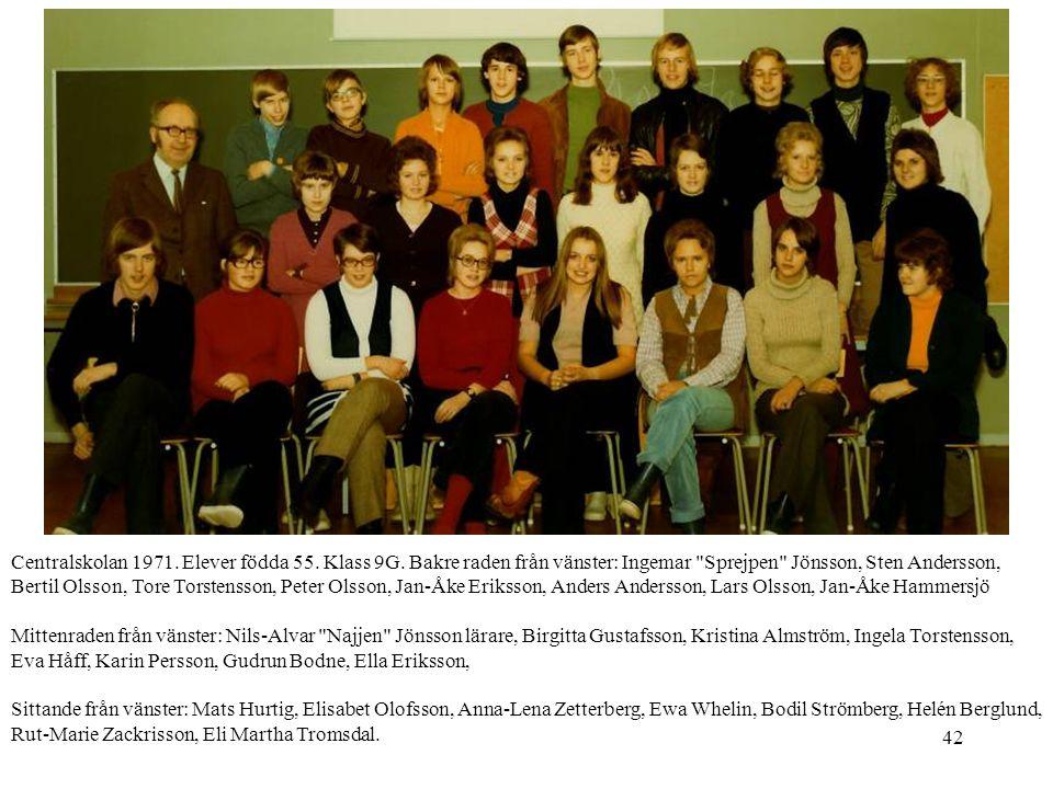 42 Centralskolan 1971. Elever födda 55. Klass 9G. Bakre raden från vänster: Ingemar