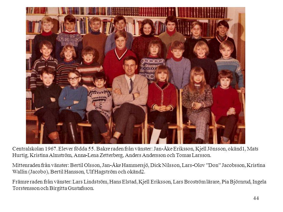 44 Centralskolan 1967. Elever födda 55. Bakre raden från vänster: Jan-Åke Eriksson, Kjell Jönsson, okänd1, Mats Hurtig, Kristina Almström, Anna-Lena Z