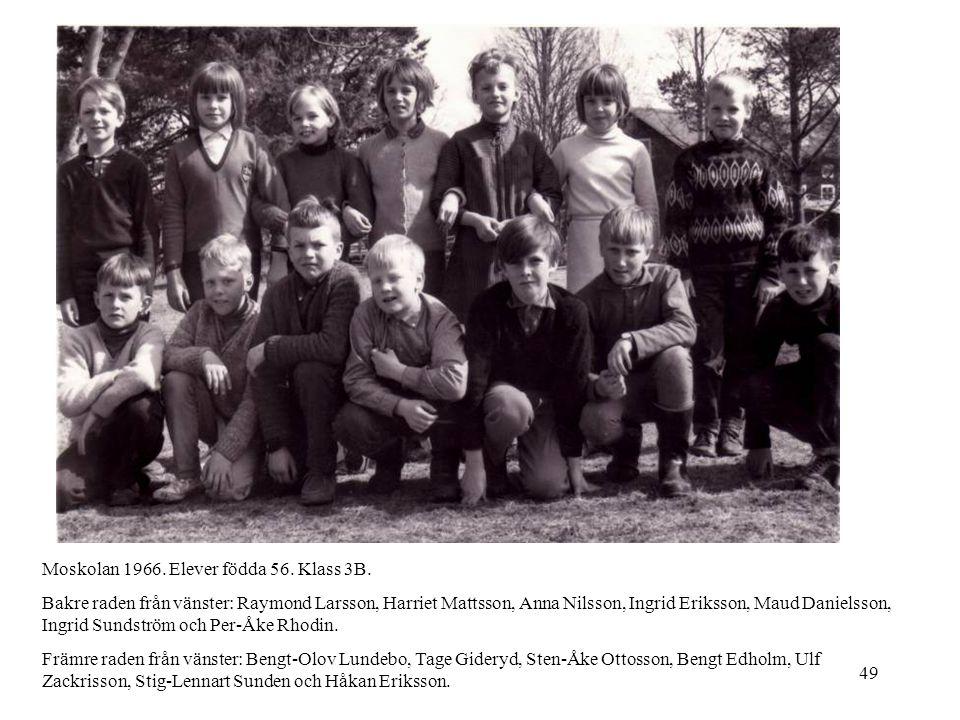 49 Moskolan 1966. Elever födda 56. Klass 3B. Bakre raden från vänster: Raymond Larsson, Harriet Mattsson, Anna Nilsson, Ingrid Eriksson, Maud Danielss