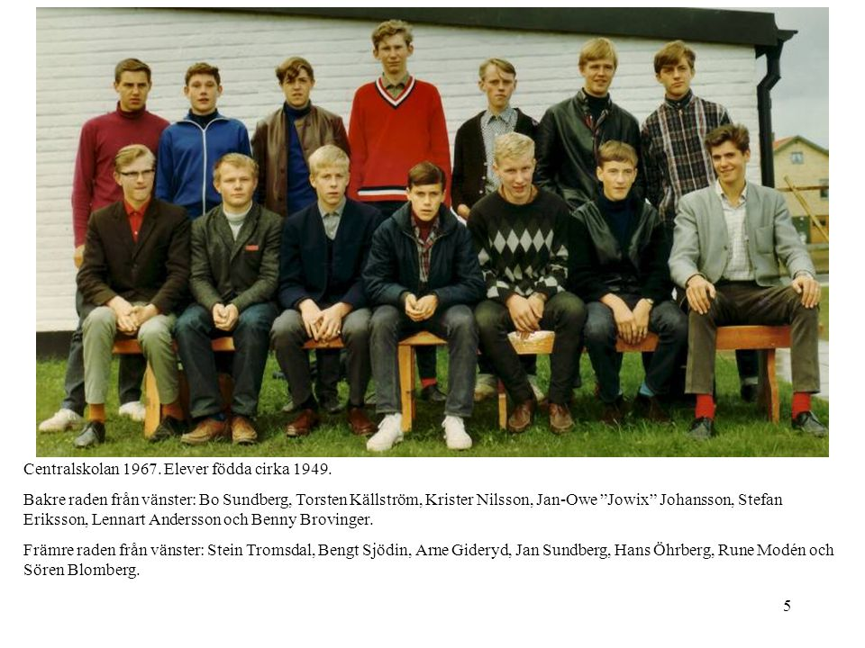 """5 Centralskolan 1967. Elever födda cirka 1949. Bakre raden från vänster: Bo Sundberg, Torsten Källström, Krister Nilsson, Jan-Owe """"Jowix"""" Johansson, S"""